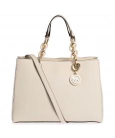 Michael Kors 30S3TCYS2L-117 Cynthia Medium Satchel Bag for Women - Leather, Ecru
